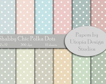 Digital Paper Pack - Shabby Chic Polka Dots