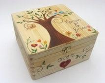 XLarge Wedding Keepsake Box, Memory Box, Personalised, Hand Painted Wedding or Anniversary Box. Funky Forest Tree Design