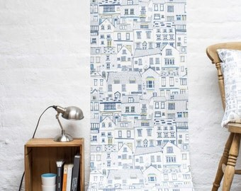 Coastal Cottages Wallpaper Sample - coastal cottages wallpaper - wall covering - interior wallpaper - designer wallpaper