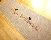 50% CLEARANCE SALE Burlap table runner, autumn decor, fall runner, halloween table runner, crows, ravens, burlap table runner, farmhouse
