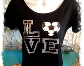 LOVE my Soccer Player- Glitter and Bling T-shirt