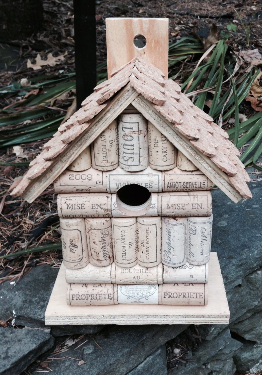 Wine cork and wood wooden birdhouse bird house handmade with for How to build a birdhouse out of wine corks