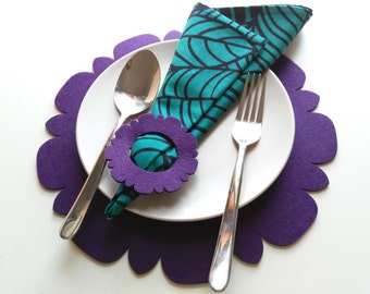 Felt Placemats with Napkin Ring, Home Deco, table, dinner, party deco, wedding, gift, modern, floral.