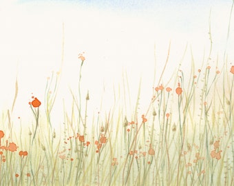 Meadow Artwork Fine Art Print from Original Watercolor Study