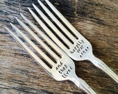 and they lived - happily ever after - Set of Upcycled Vintage Silverware Forks hand stamped - recycled