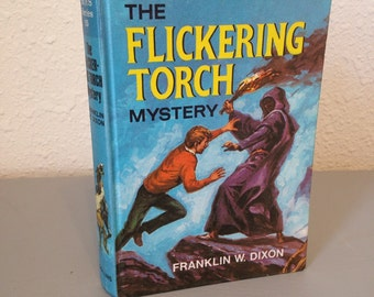 Vintage Hardy Boys Hardcover Book, The Flickering Torch Mystery, #15 UK Hardy Boys Series, UK Collins Hardy Boys Printing