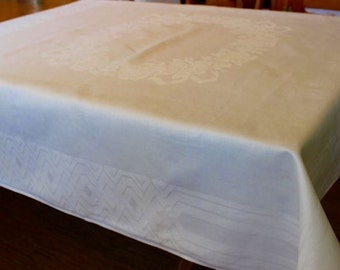Vintage Linen Tablecloth Damask 54 Square Wilco Unused Braided Border Floral Willowdale