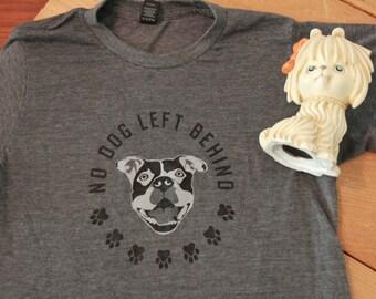 ALLSIZES Men's Unisex Charcoal heather grey t shirt No dog left behind dog cat rescue pitbull bully breed animal advocate