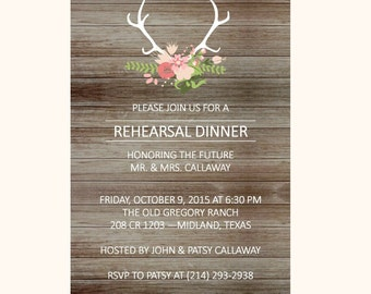 Rustic Rehearsal Dinner Invitation with Antlers and Flowers on Wood, rehearsal dinner, wedding rehearsal,printable invitation