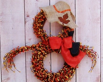 Fall Wreath-Scarecrow-Fall Harvest-Fall Front Door Wreath-Fall Door Wreath-Fall Door Decor-FALL SCARECROW-Rustic Fall Berry Scarecrow Wreath