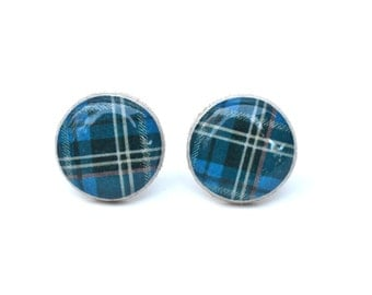 Blue Plaid Studs, Blue Plaid Earrings, Tartan Plaid Earrings. Eco friendly Jewelry, Wood Earrings, minimalist jewelry