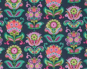 Bright Heart by Amy Butler for Free Spirit - Folk Bloom - Midnight - 1/2 yard Cotton Quilt Fabric 516