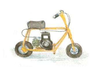 Watercolor Mini Bike, Mini Bike Print Print for Him