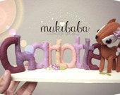 CUSTOM DEER NAME - forest creatures - deer - baby decoration - woodland - felt