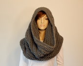 Color Choices, Bulky Gray Large Cowl Scarf, Warm Winter Scarf, Hooded Scarf, Wide Infinity Scarf, Grey Infinity Scarf, MarlowsGiftCottage
