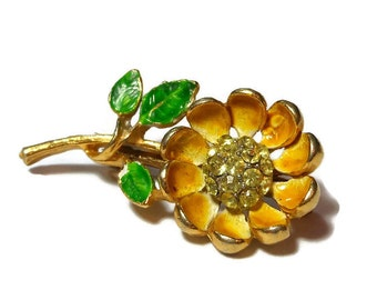 Yellow floral brooch pin, small yellow enamel flower with yellow rhinestone centers, lapel pin, hat enhancer