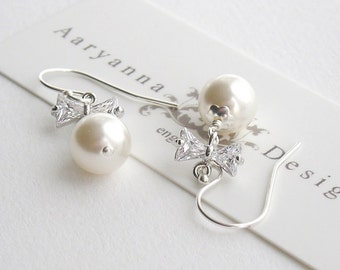 Brides pearl and CZ sterling silver bridal earrings, custom colours and a choice of ear fittings, wedding earrings, bridal jewellery