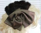 Vintage Brown Mink Hat Designer with Brown Satin Bows