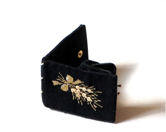 Vintage Womens Black Floral Petit Point Wallet Gold and Silver Flower Spray Coin Purse Small Evening Clutch Gift For Mom