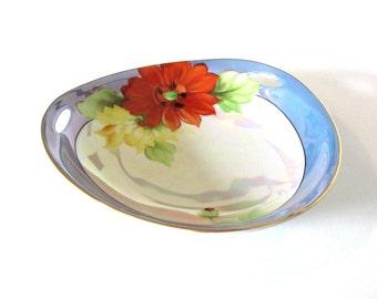Noritake Red Aster Candy Bowl Pierced Three Handle Blue Band Orange Yellow Lusterware Japan Floral Decor