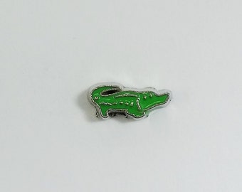 1 PC - Green Alligator Gator Enamel Silver Charm for Floating Locket Jewelry F0064