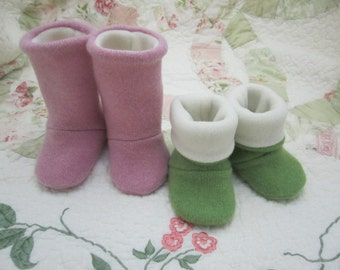 Cashmere sock booties rose and lt. green sizes 0-3, 3-6 mos. Fleece lined RTS