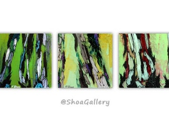 Green ORIGINAL painting wall art set gift for her women Abstract landscape Tree art Canvas artwork office bedroom living room bathroom decor