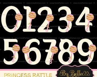 INSTANT DOWNLOAD pink gold BABY rattle princess Glitter inspired clipart numbers clip art for scrapbooking
