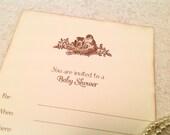 Blank Baby Shower Invitations- Bird Nest Invitations- Gender neutral shower invitations - Set of 10