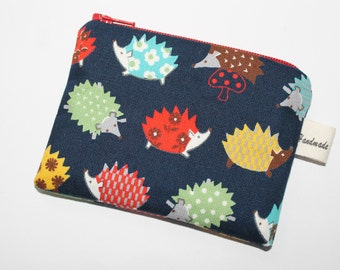 Coin purse, change purse, dark blue with hedgehogs, woodland print, wildlife print