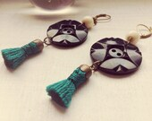 Margot - special price - gypsy boho seventies vintage buttons earrings