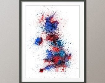 Great Britain UK Paint Splashes Map, Art Print (2120)