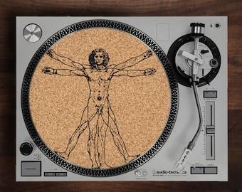 Turntable Slipmat - Vitruvian Man engraved Cork turntable mat with Reversable fabric Back