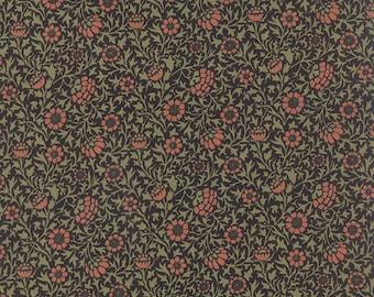 1/2 yard - BEST of MORRIS Clove Flowers on Black by Barbara Brackman - Arts and Crafts Art Nouveau Style for Moda Fabrics