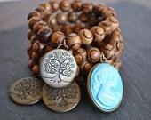 SANDALWOOD beaded TREE charm/BLUE cameo bracelet
