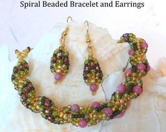 PDF Beading Tutorial, PDF Beaded Bracelet Pattern, Spiral Beaded Bracelet Tutorial,Seed Bead Earrings Pattern, Seed Bead Tutorial, Beadwoven