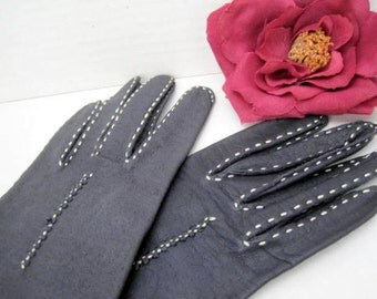 Leather Gloves - Dark Navy Blue with White Stitching - size 7