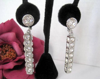 Bergere Signed Rhinestone Earrings Mid Century Dangle Clips