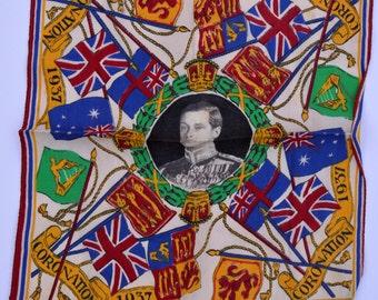 1937 Coronation of King Edward VIII Souvenir Handkerchief Vintage Royalty Royal Souvenir Royal Coronation Royal Memorabilia