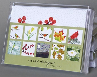 Four Seasons Mix - A boxed set of 10 nature inspired blank notecards , origami paper