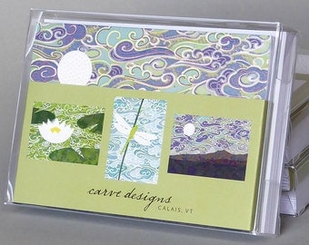 Summer - A boxed set of 10 blank notecards.  Origami paper , waterlily , dragonfly , mountain