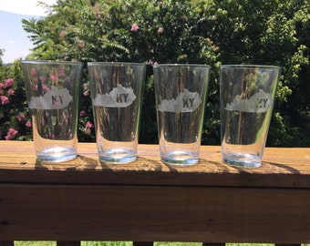 State Glasses - Pint Glasses - Etch State Glass - Beer glass