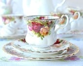 Dainty Royal Albert Old Country Roses - small tea cup / coffee cup, saucer and plate, a sweet set for a special party
