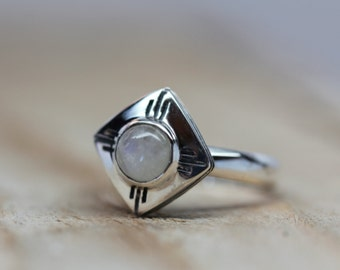Moonstone Medicine Wheel Ring