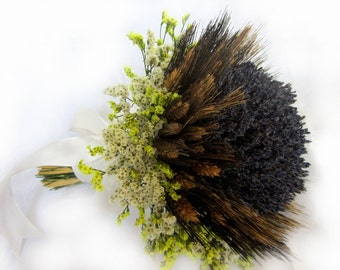 Black Bear Wheat Dried Lavender Bridal Bouquet - Bridal Dried Lavender Bouquet- Free Boutonniere READY TO SHIP!