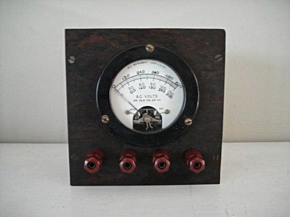 Antique Volt Meter : Antique voltmeter a c volt gage gauge vintage science