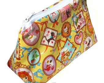 Cosmetic pouch/bag with yellow lolita doll cute girl picture frames stamps japanese fabric kawaii harajuku
