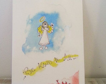 Be Kind, Art Card from Original Watercolour