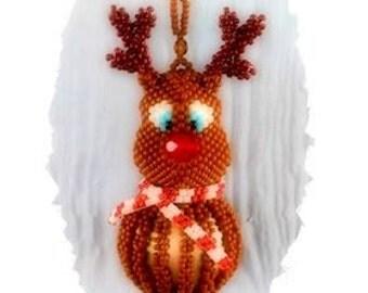 Beaded Reindeer Ornament; beaded Christmas ornament