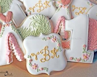 Baby's First Birthday Cookies, Boho Chic Birthday, Boho Florals, Blush, Peach, Sage, Number Cookies, Monogram Cookies, Custom, Feathers